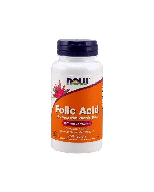 Now Folic Acid With B-12 800Mcg 250 Ταμπλέτες